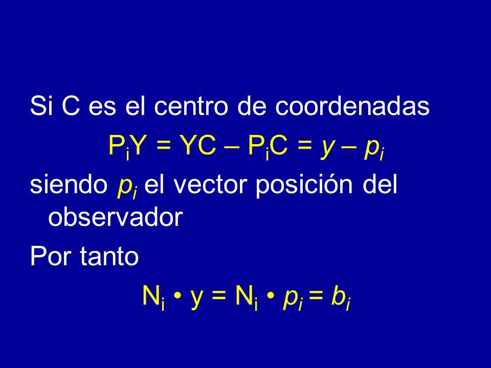 Si C es el centro de coordenadas P i Y = YC – P i C = y – p i siendo p i el vector posición del observador Por tanto N i y = N i p i = b i
