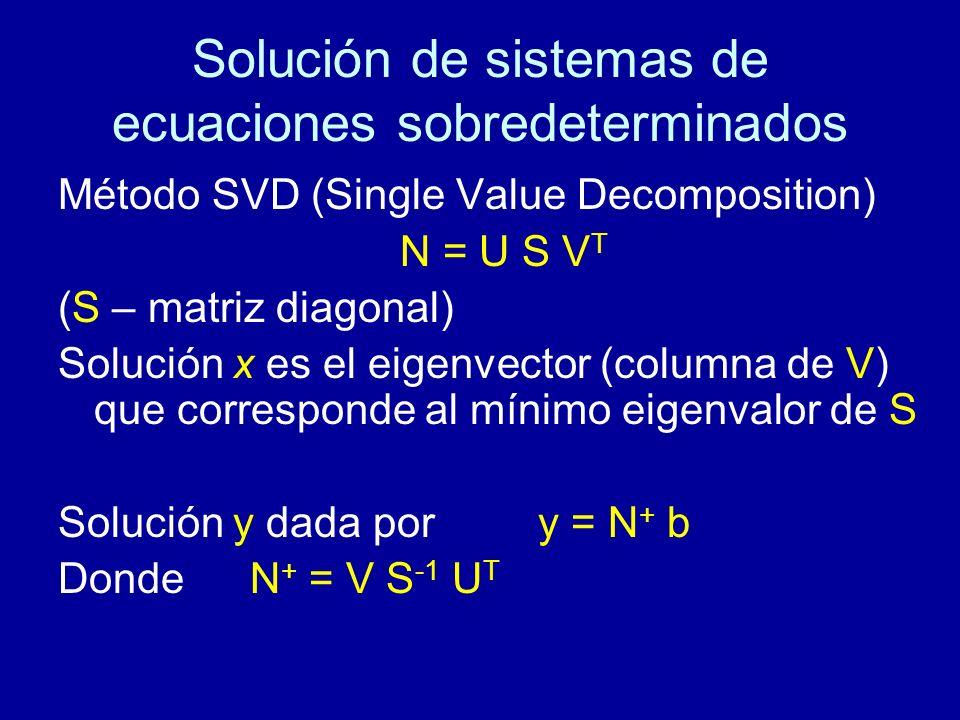 Solución de sistemas de ecuaciones sobredeterminados Método SVD (Single Value Decomposition) N = U S V T (S – matriz diagonal) Solución x es el eigenvector (columna de V) que corresponde al mínimo eigenvalor de S Solución y dada por y = N + b Donde N + = V S -1 U T