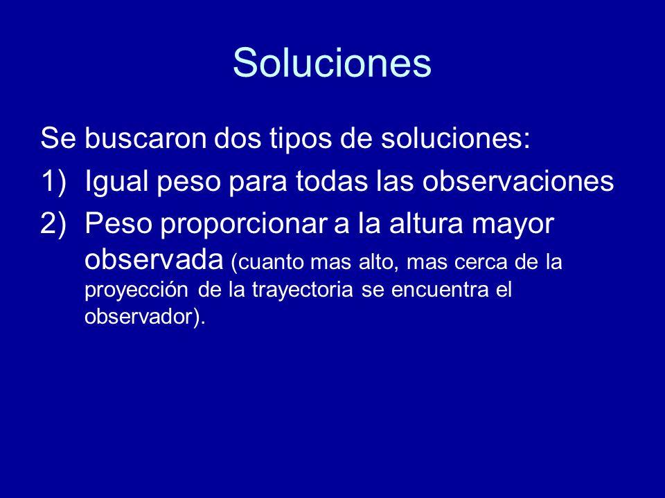 Soluciones Se buscaron dos tipos de soluciones: 1)Igual peso para todas las observaciones 2)Peso proporcionar a la altura mayor observada (cuanto mas alto, mas cerca de la proyección de la trayectoria se encuentra el observador).