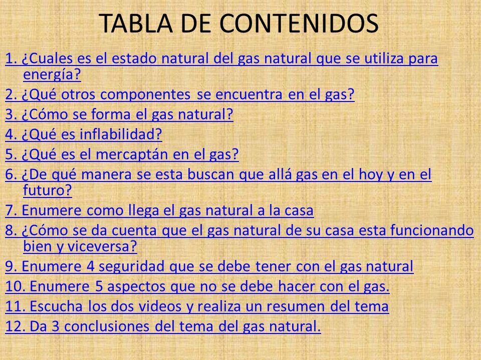 TABLA DE CONTENIDOS 1. ¿Cuales es el estado natural del gas natural que se utiliza para energía? 2. ¿Qué otros componentes se encuentra en el gas? 3.