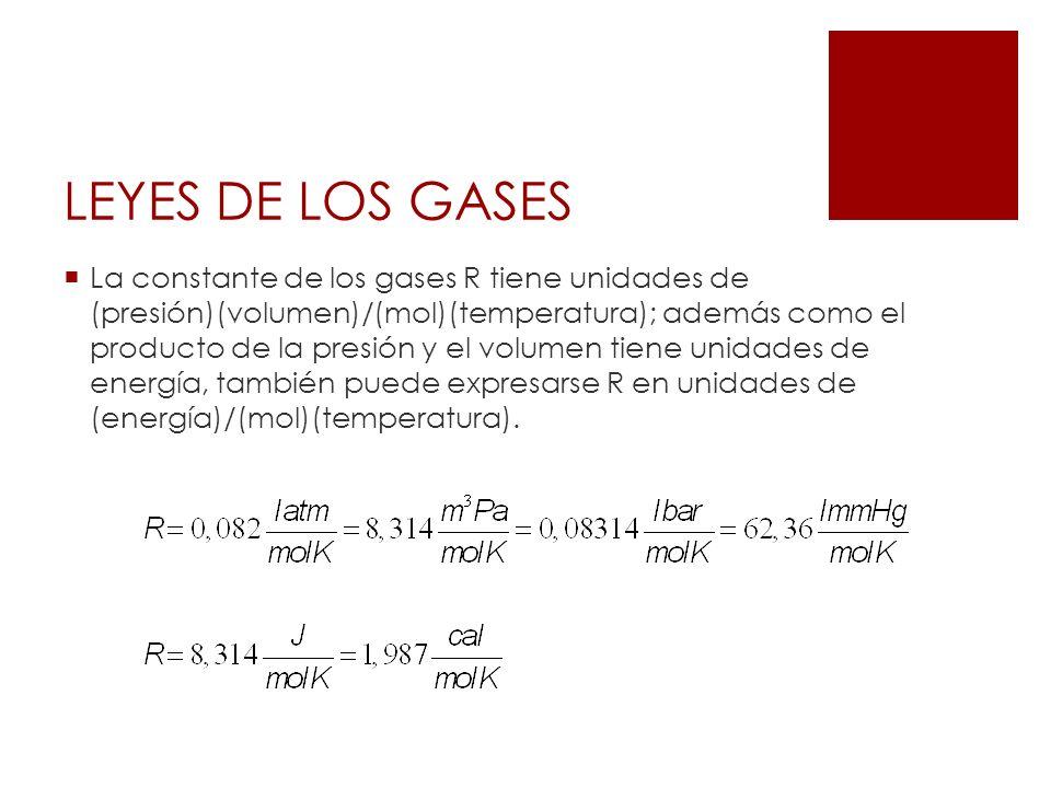LEYES DE LOS GASES La constante de los gases R tiene unidades de (presión)(volumen)/(mol)(temperatura); además como el producto de la presión y el vol
