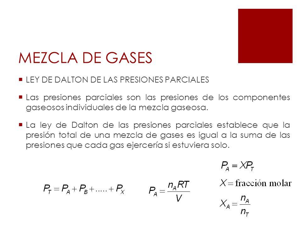 MEZCLA DE GASES LEY DE DALTON DE LAS PRESIONES PARCIALES Las presiones parciales son las presiones de los componentes gaseosos individuales de la mezc