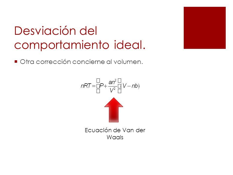 Desviación del comportamiento ideal. Otra corrección concierne al volumen. Ecuación de Van der Waals