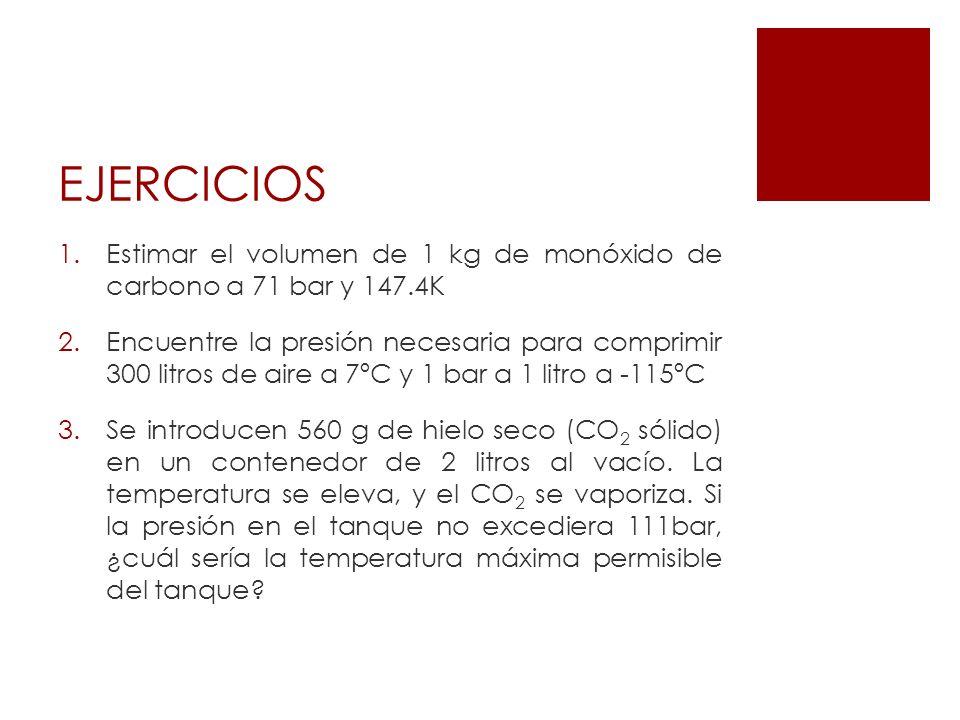 EJERCICIOS 1.Estimar el volumen de 1 kg de monóxido de carbono a 71 bar y 147.4K 2.Encuentre la presión necesaria para comprimir 300 litros de aire a