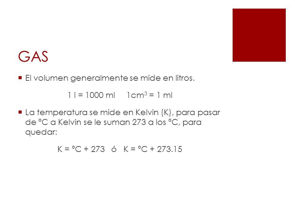 GAS El volumen generalmente se mide en litros. 1 l = 1000 ml1cm 3 = 1 ml La temperatura se mide en Kelvin (K), para pasar de ºC a Kelvin se le suman 2