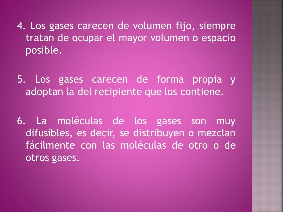 En la cuarta propiedad se indica que el volumen de los gases no es fijo, por lo tanto el mismo puede variar por los factores temperatura y presión.