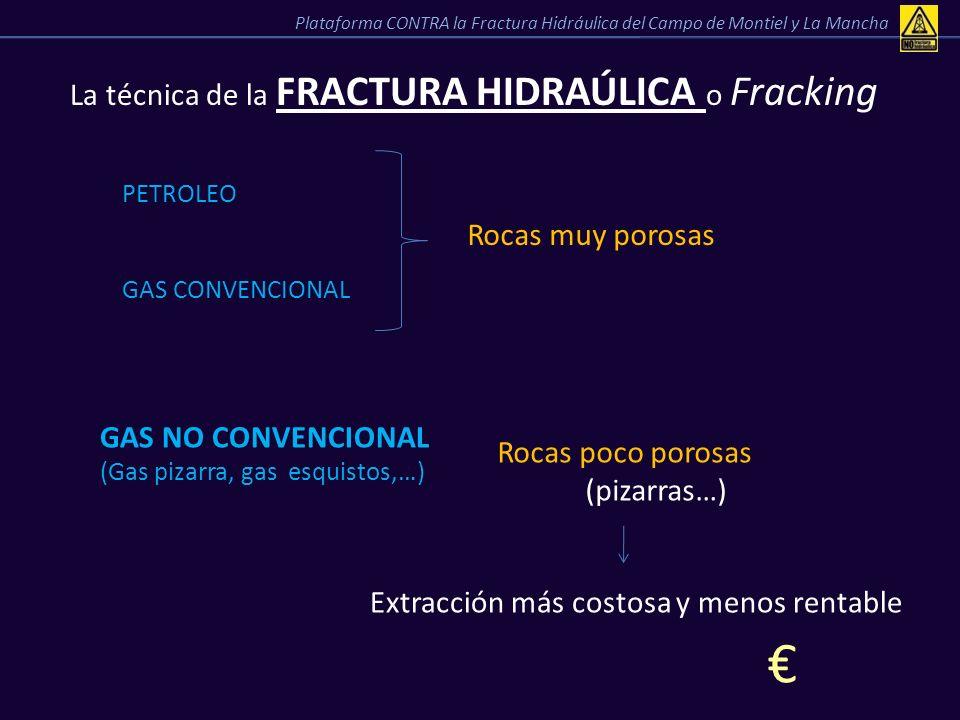 La técnica de la FRACTURA HIDRAÚLICA o Fracking PETROLEO GAS CONVENCIONAL Rocas muy porosas GAS NO CONVENCIONAL (Gas pizarra, gas esquistos,…) Rocas p