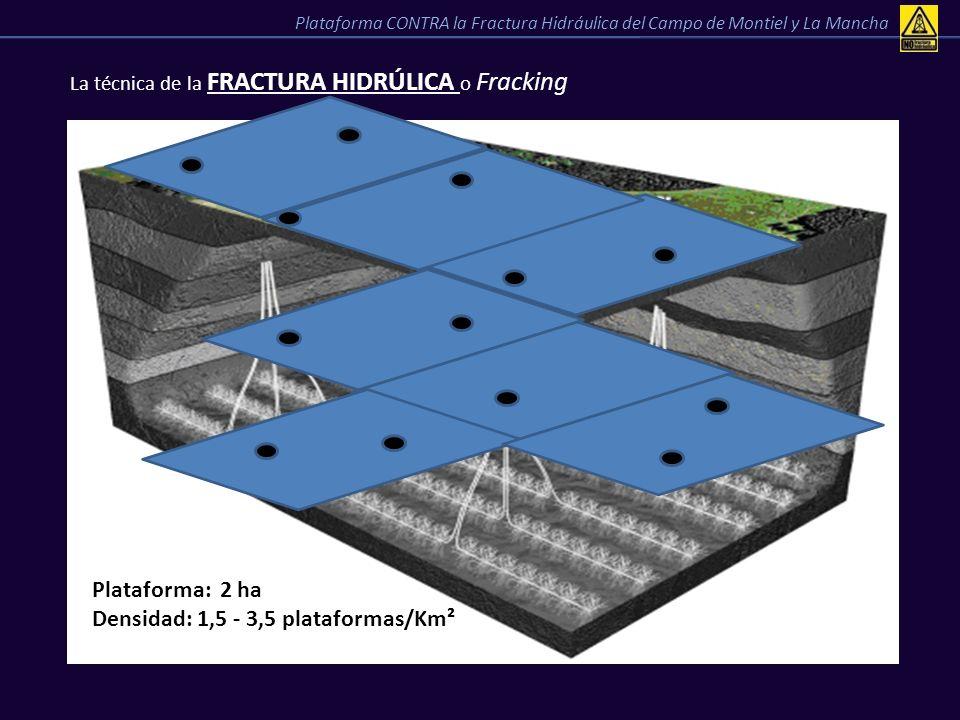 La técnica de la FRACTURA HIDRÚLICA o Fracking Plataforma CONTRA la Fractura Hidráulica del Campo de Montiel y La Mancha Plataforma: 2 ha Densidad: 1,