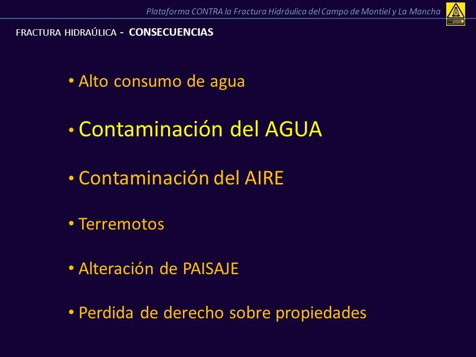 FRACTURA HIDRAÚLICA - CONSECUENCIAS Alto consumo de agua Contaminación del AGUA Contaminación del AIRE Terremotos Alteración de PAISAJE Perdida de der