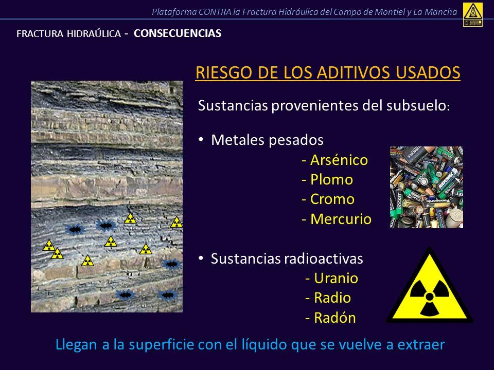 FRACTURA HIDRAÚLICA - CONSECUENCIAS RIESGO DE LOS ADITIVOS USADOS Sustancias provenientes del subsuelo : Metales pesados - Arsénico - Plomo - Cromo -