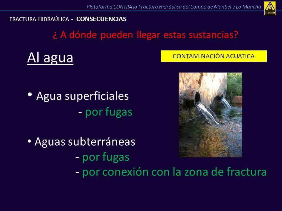 FRACTURA HIDRAÚLICA - CONSECUENCIAS ¿ A dónde pueden llegar estas sustancias? CONTAMINACIÓN ACUATICA Al agua Agua superficiales - por fugas Aguas subt