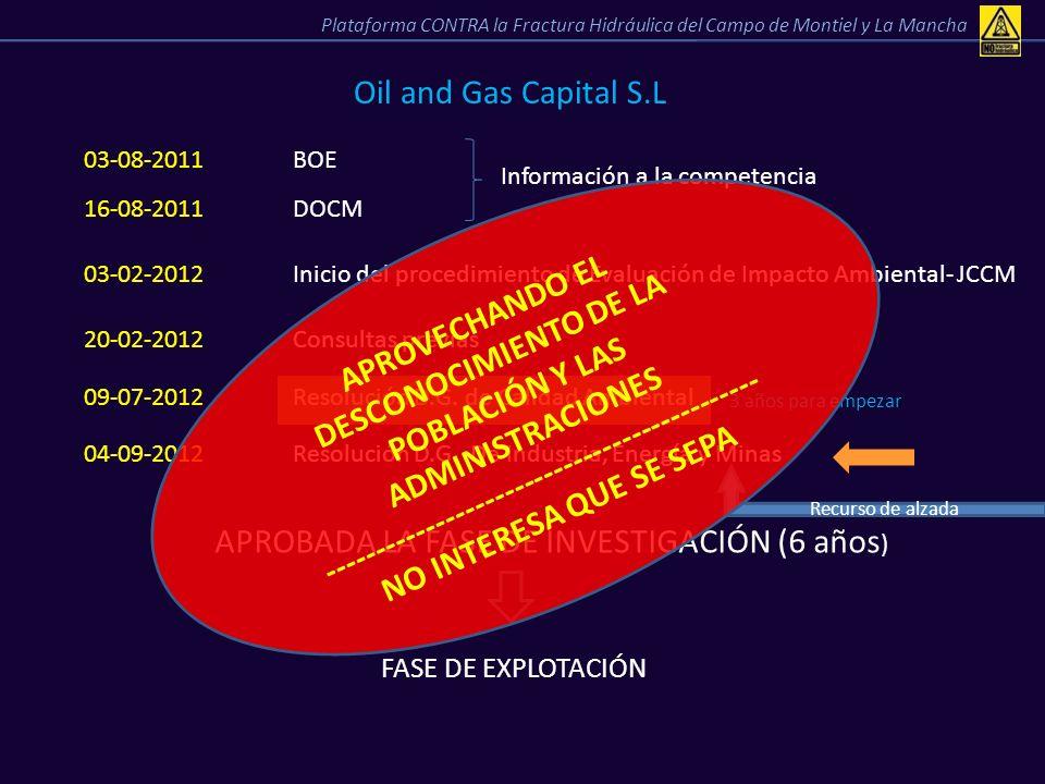 Oil and Gas Capital S.L 03-08-2011BOE 16-08-2011DOCM Información a la competencia 03-02-2012Inicio del procedimiento de Evaluación de Impacto Ambienta