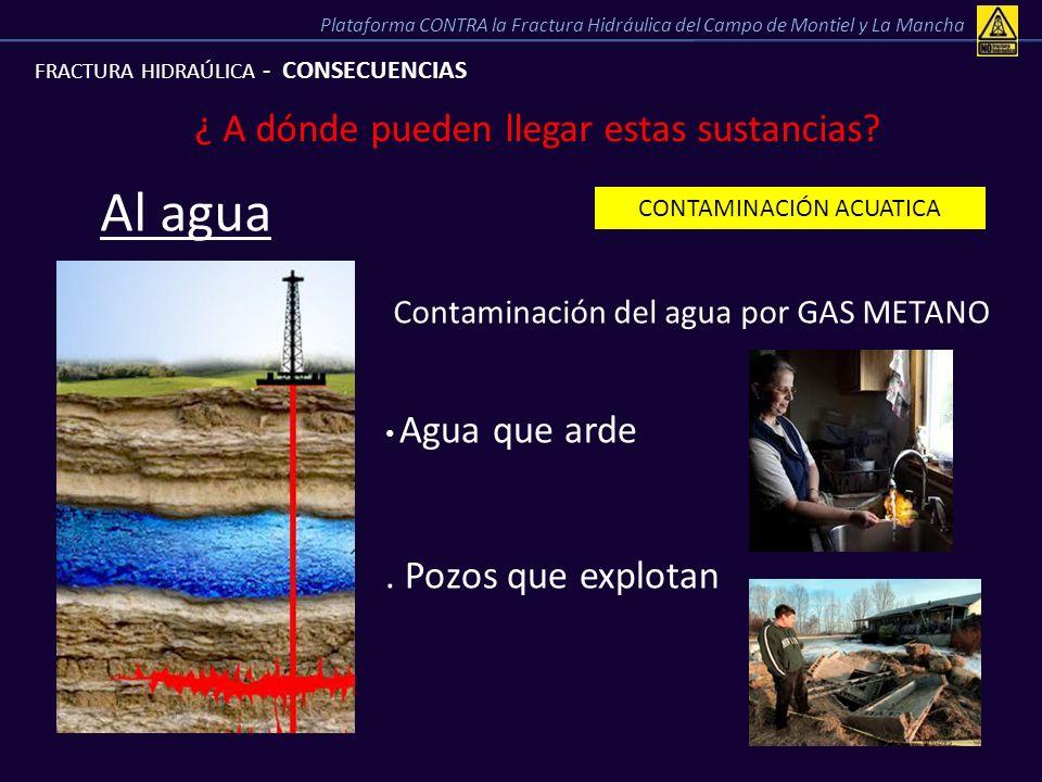 FRACTURA HIDRAÚLICA - CONSECUENCIAS ¿ A dónde pueden llegar estas sustancias? CONTAMINACIÓN ACUATICA Al agua Contaminación del agua por GAS METANO Agu