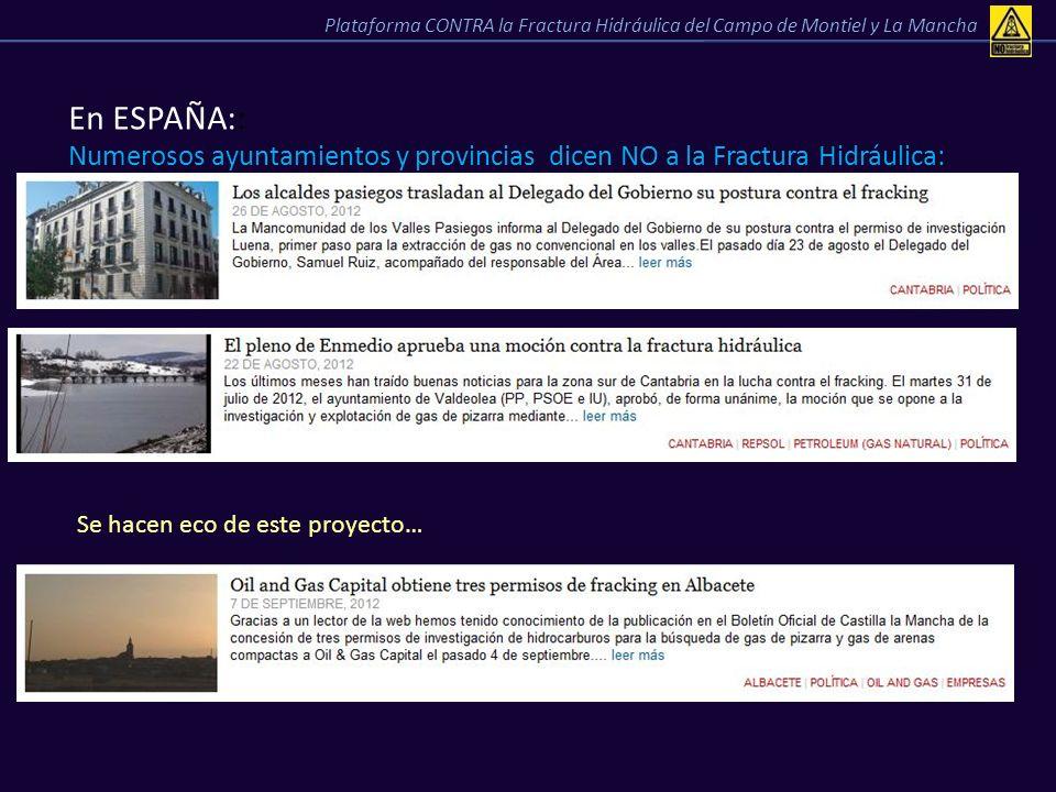 En ESPAÑA:: Numerosos ayuntamientos y provincias dicen NO a la Fractura Hidráulica: Plataforma CONTRA la Fractura Hidráulica del Campo de Montiel y La