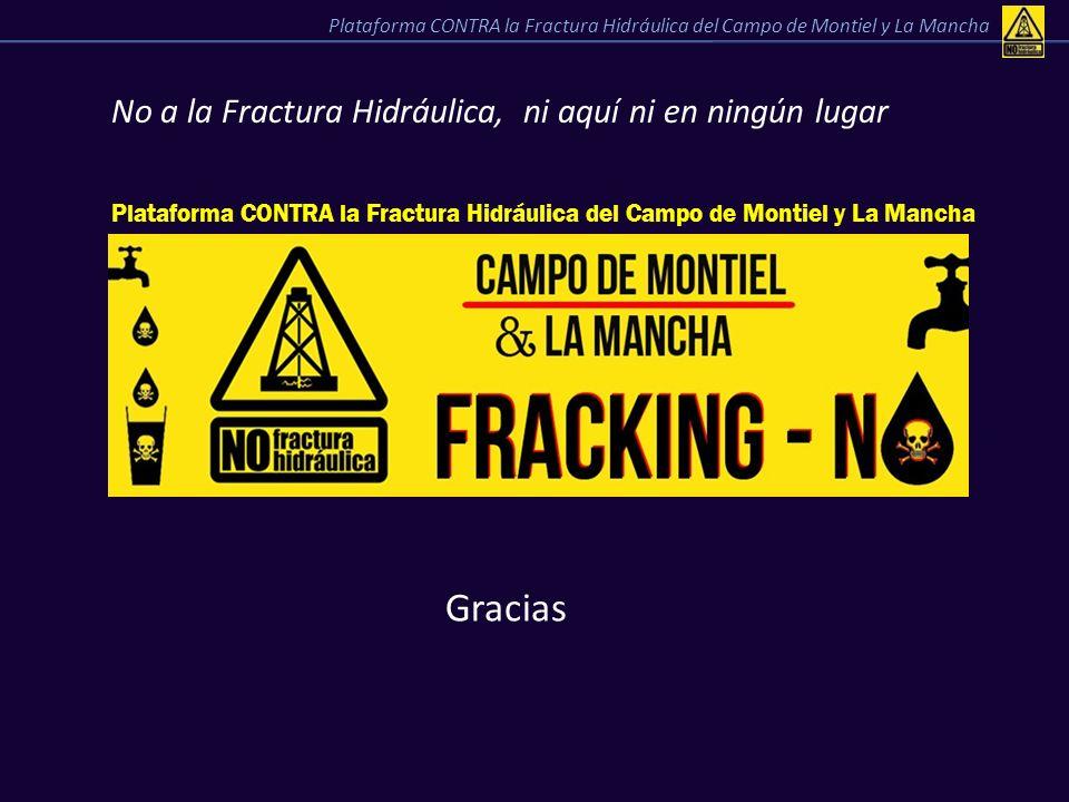 No a la Fractura Hidráulica, ni aquí ni en ningún lugar Gracias Plataforma CONTRA la Fractura Hidráulica del Campo de Montiel y La Mancha