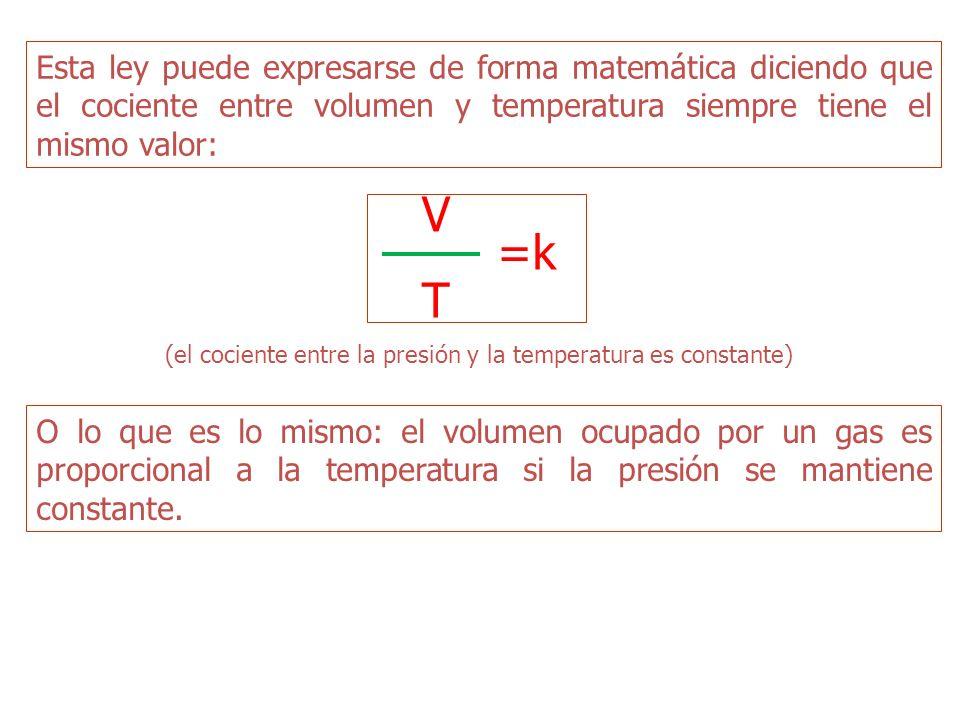 Esta ley puede expresarse de forma matemática diciendo que el cociente entre volumen y temperatura siempre tiene el mismo valor: (el cociente entre la presión y la temperatura es constante) VTVT =k O lo que es lo mismo: el volumen ocupado por un gas es proporcional a la temperatura si la presión se mantiene constante.