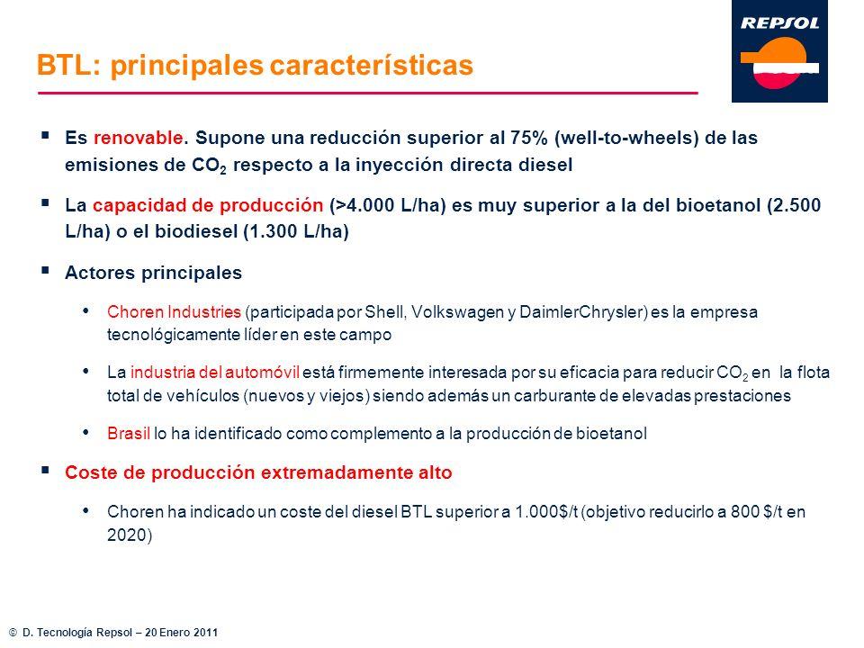 BTL: principales características Es renovable. Supone una reducción superior al 75% (well-to-wheels) de las emisiones de CO 2 respecto a la inyección