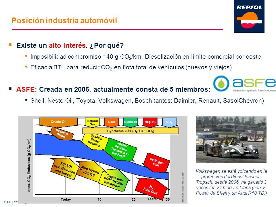 Posición industria automóvil Existe un alto interés. ¿Por qué? Imposibilidad compromiso 140 g CO 2 /km. Dieselización en límite comercial por coste Ef