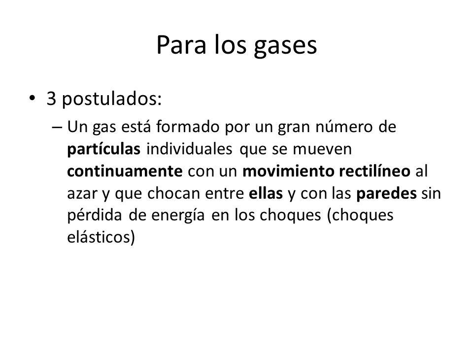 Para los gases 3 postulados: – Un gas está formado por un gran número de partículas individuales que se mueven continuamente con un movimiento rectilí