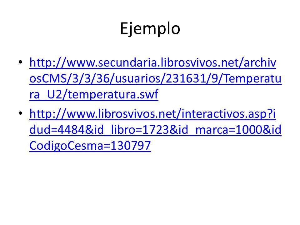 Ejemplo http://www.secundaria.librosvivos.net/archiv osCMS/3/3/36/usuarios/231631/9/Temperatu ra_U2/temperatura.swf http://www.secundaria.librosvivos.