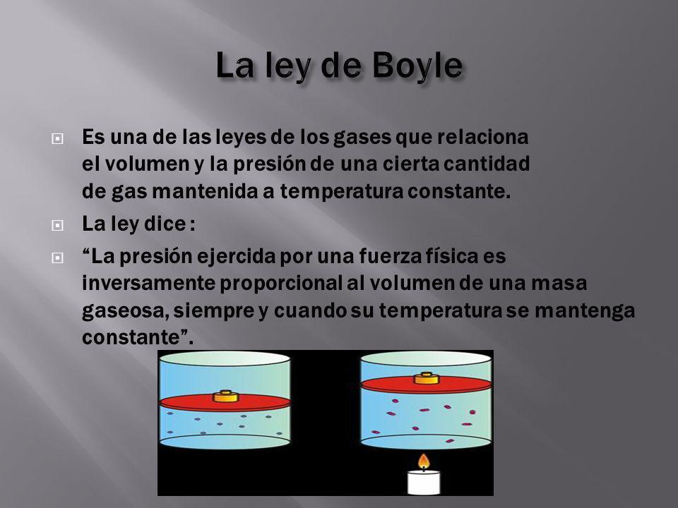 Es una de las leyes de los gases que relaciona el volumen y la presión de una cierta cantidad de gas mantenida a temperatura constante. La ley dice :