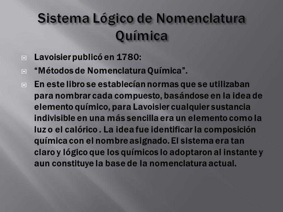 Lavoisier publicó en 1780: Métodos de Nomenclatura Química. En este libro se establecían normas que se utilizaban para nombrar cada compuesto, basándo