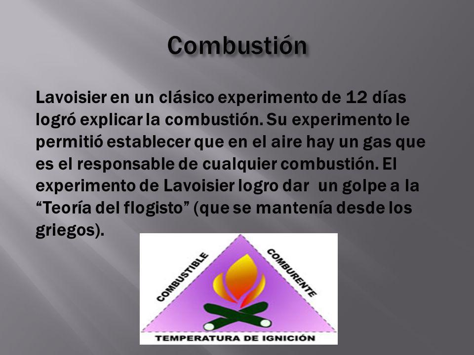 Lavoisier en un clásico experimento de 12 días logró explicar la combustión. Su experimento le permitió establecer que en el aire hay un gas que es el