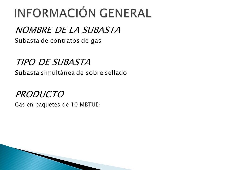 NOMBRE DE LA SUBASTA Subasta de contratos de gas TIPO DE SUBASTA Subasta simultánea de sobre sellado PRODUCTO Gas en paquetes de 10 MBTUD