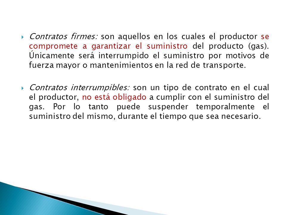Contratos firmes: son aquellos en los cuales el productor se compromete a garantizar el suministro del producto (gas).