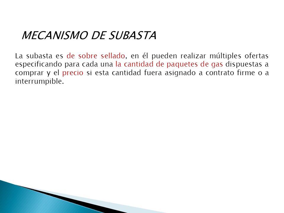 MECANISMO DE SUBASTA La subasta es de sobre sellado, en él pueden realizar múltiples ofertas especificando para cada una la cantidad de paquetes de gas dispuestas a comprar y el precio si esta cantidad fuera asignado a contrato firme o a interrumpible.