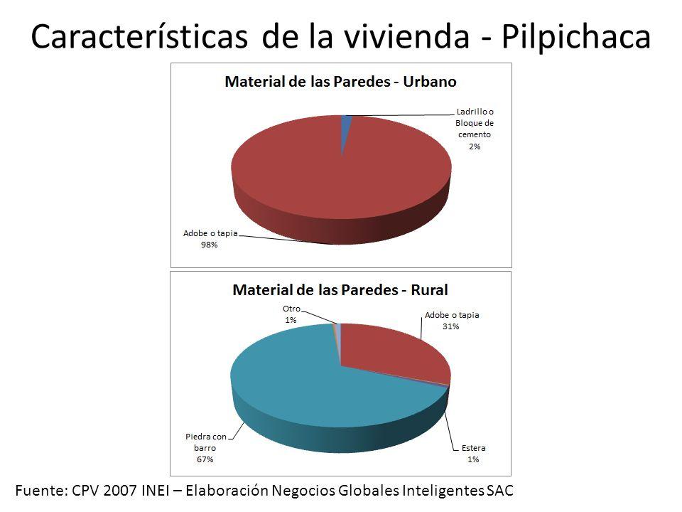 Características de la vivienda - Pilpichaca Fuente: CPV 2007 INEI – Elaboración Negocios Globales Inteligentes SAC