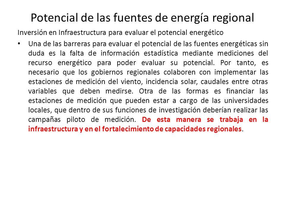 Potencial de las fuentes de energía regional Inversión en Infraestructura para evaluar el potencial energético Una de las barreras para evaluar el potencial de las fuentes energéticas sin duda es la falta de información estadística mediante mediciones del recurso energético para poder evaluar su potencial.