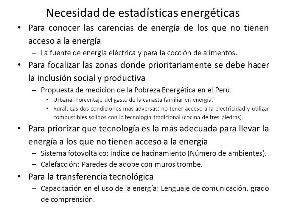 Necesidad de estadísticas energéticas Para conocer las carencias de energía de los que no tienen acceso a la energía – La fuente de energía eléctrica y para la cocción de alimentos.