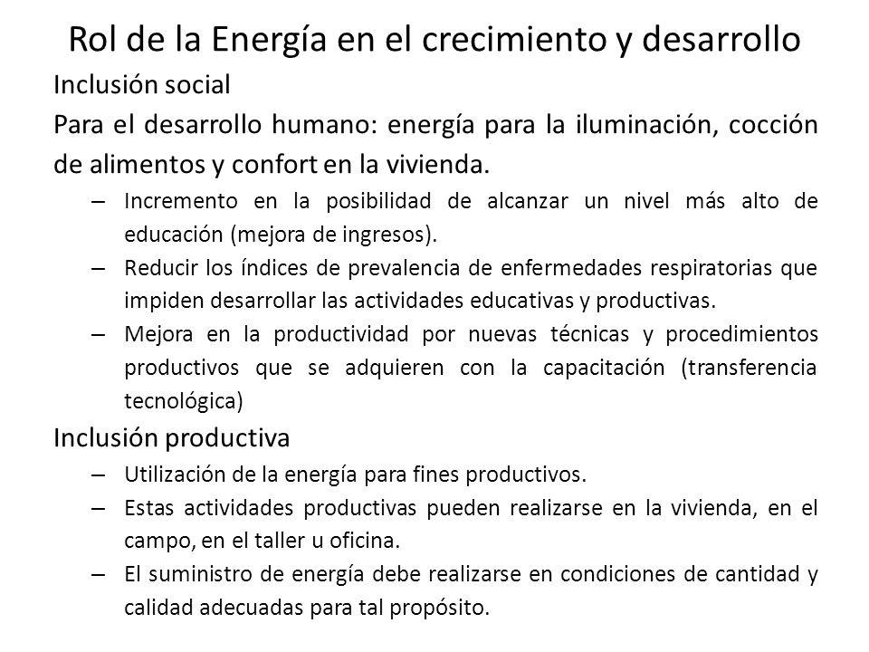 Rol de la Energía en el crecimiento y desarrollo Inclusión social Para el desarrollo humano: energía para la iluminación, cocción de alimentos y confort en la vivienda.