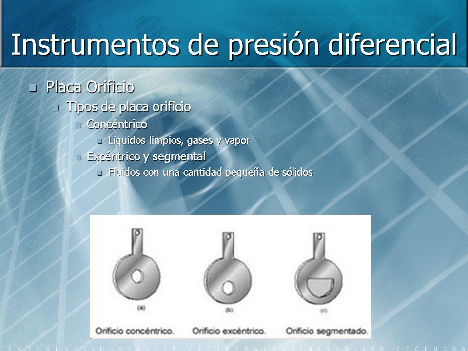 Instrumentos de presión diferencial Placa Orificio Tipos de placa orificio Concéntrico Líquidos limpios, gases y vapor Excéntrico y segmental Fluidos