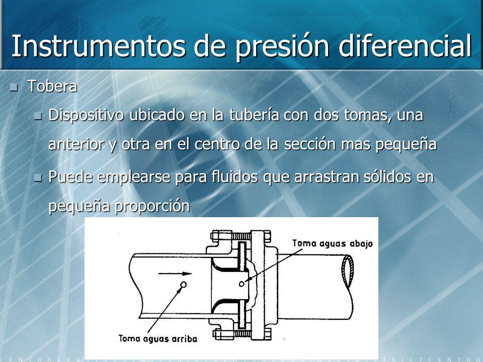Instrumentos de presión diferencial Tobera Dispositivo ubicado en la tubería con dos tomas, una anterior y otra en el centro de la sección mas pequeña