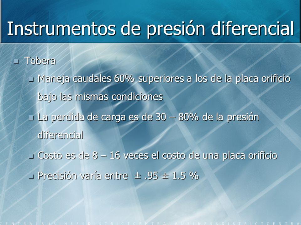 Instrumentos de presión diferencial Tobera Maneja caudales 60% superiores a los de la placa orificio bajo las mismas condiciones La perdida de carga e