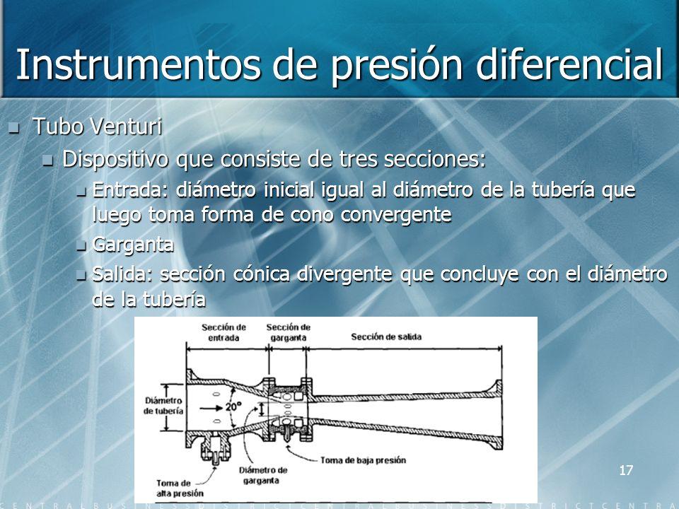 Instrumentos de presión diferencial Tubo Venturi Dispositivo que consiste de tres secciones: Entrada: diámetro inicial igual al diámetro de la tubería