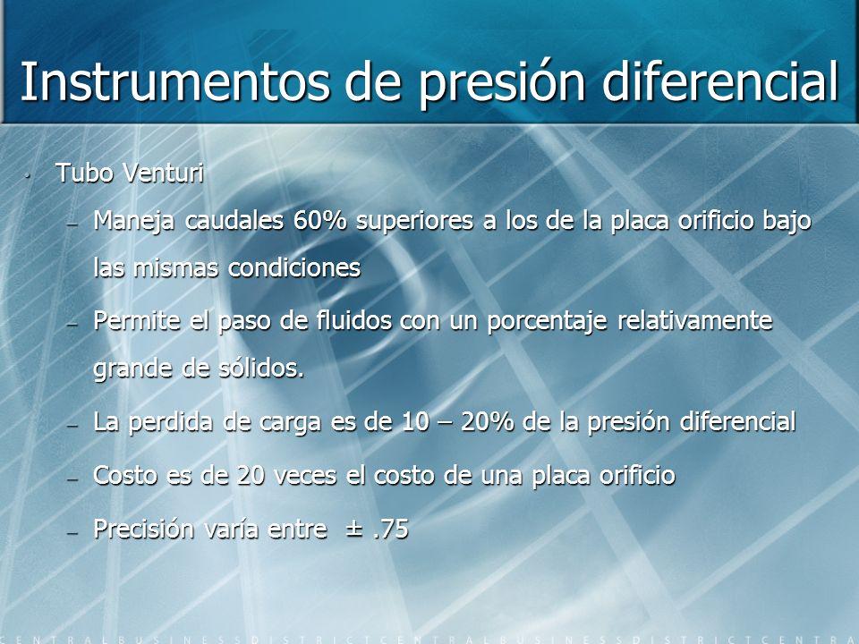 Instrumentos de presión diferencial Tubo Venturi – Maneja caudales 60% superiores a los de la placa orificio bajo las mismas condiciones – Permite el