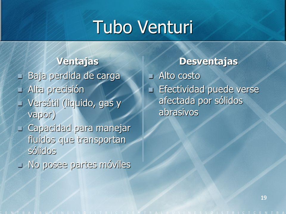 Tubo Venturi Ventajas Baja perdida de carga Alta precisión Versátil (liquido, gas y vapor) Capacidad para manejar fluidos que transportan sólidos No p