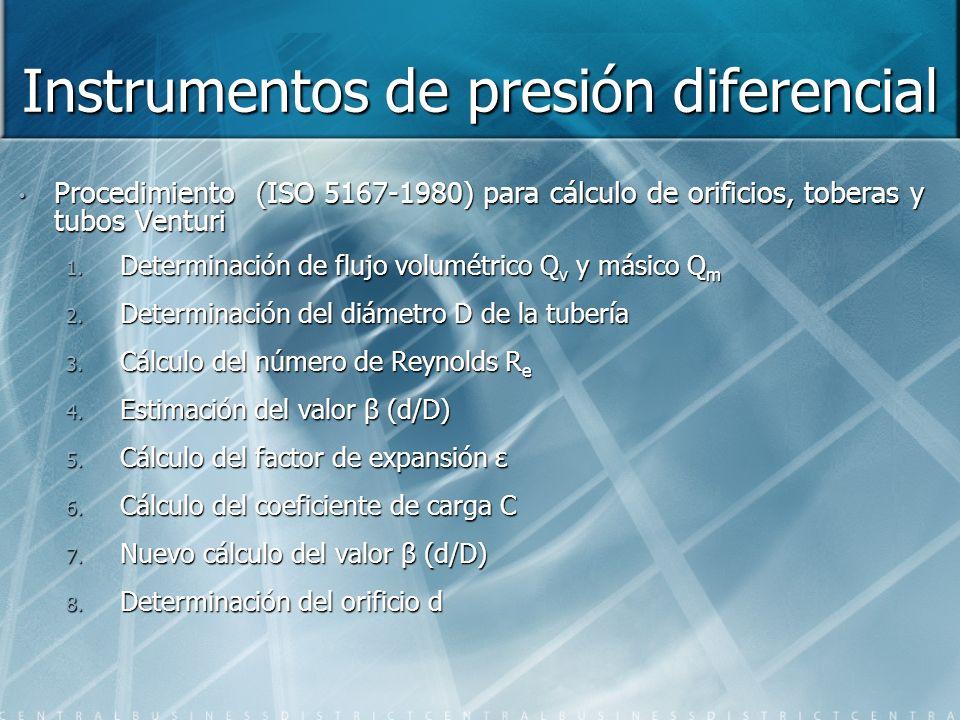 Instrumentos de presión diferencial Procedimiento (ISO 5167-1980) para cálculo de orificios, toberas y tubos Venturi 1. Determinación de flujo volumét