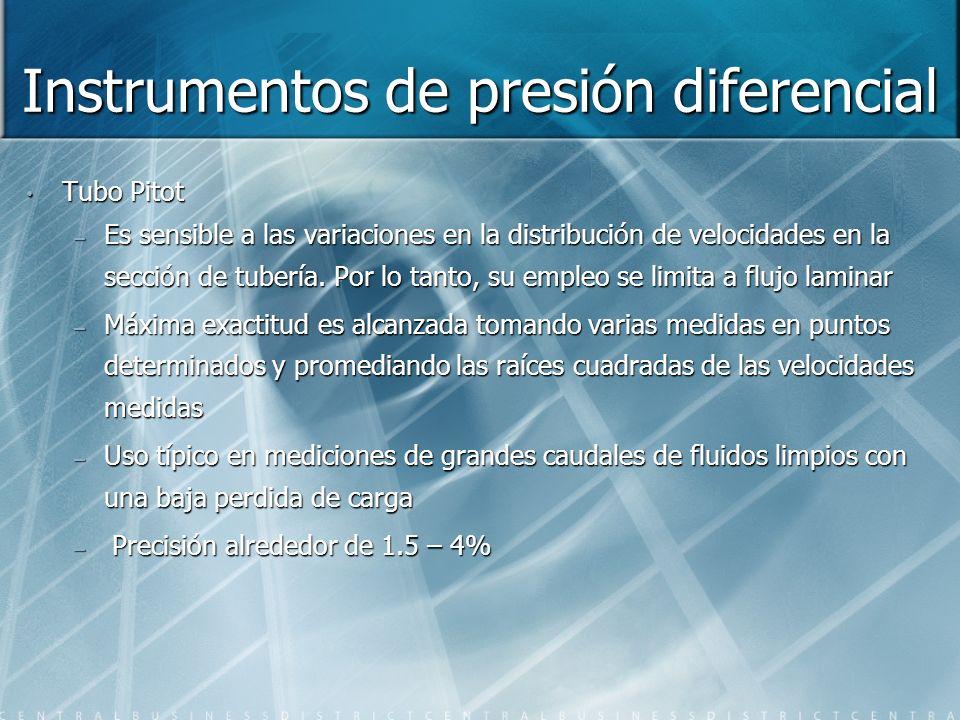 Instrumentos de presión diferencial Tubo Pitot – Es sensible a las variaciones en la distribución de velocidades en la sección de tubería. Por lo tant