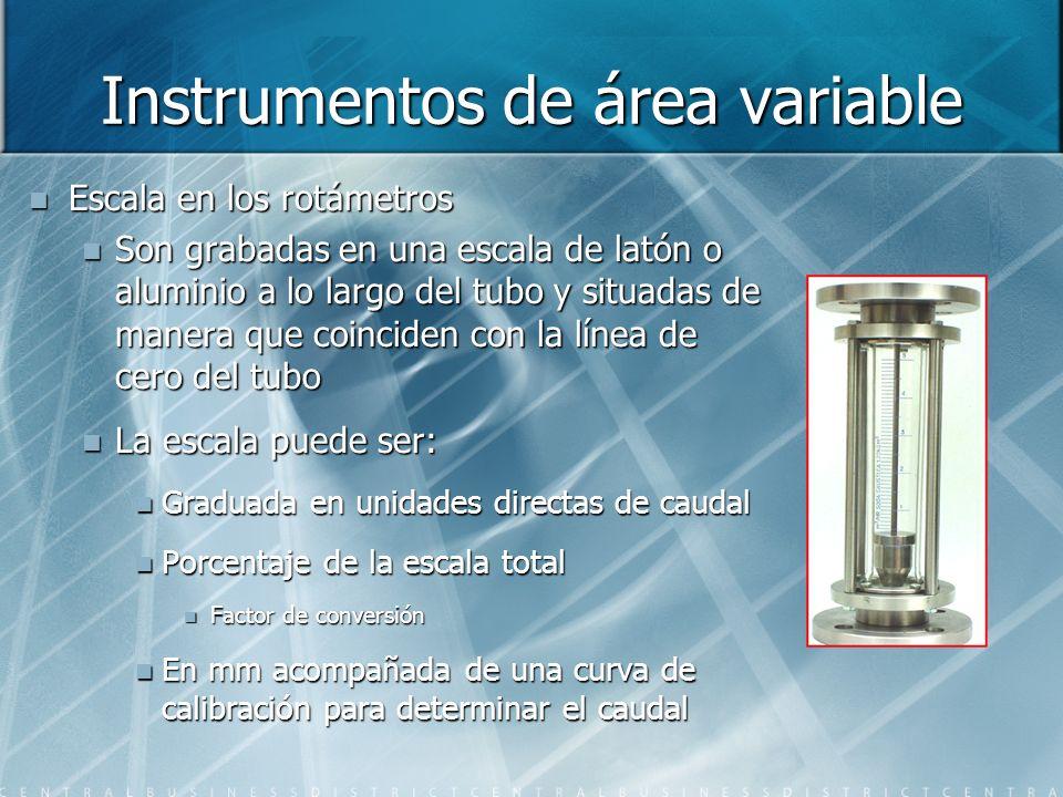 Instrumentos de área variable Escala en los rotámetros Son grabadas en una escala de latón o aluminio a lo largo del tubo y situadas de manera que coi