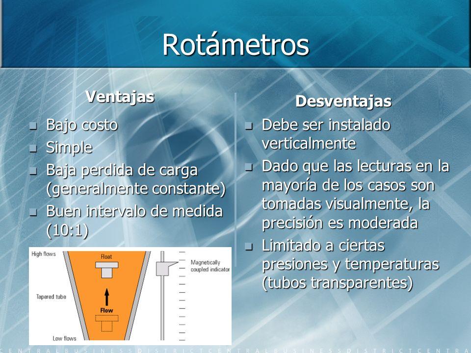 Rotámetros Ventajas Bajo costo Simple Baja perdida de carga (generalmente constante) Buen intervalo de medida (10:1) Desventajas Debe ser instalado ve
