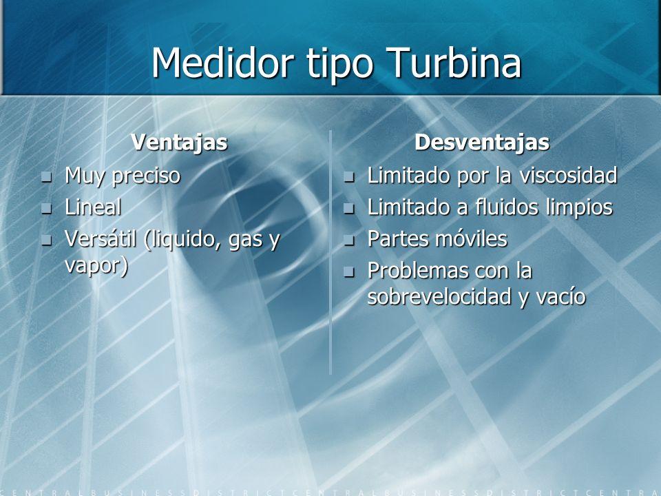 Medidor tipo Turbina Medidor tipo Turbina Ventajas Muy preciso Lineal Versátil (liquido, gas y vapor) Desventajas Limitado por la viscosidad Limitado