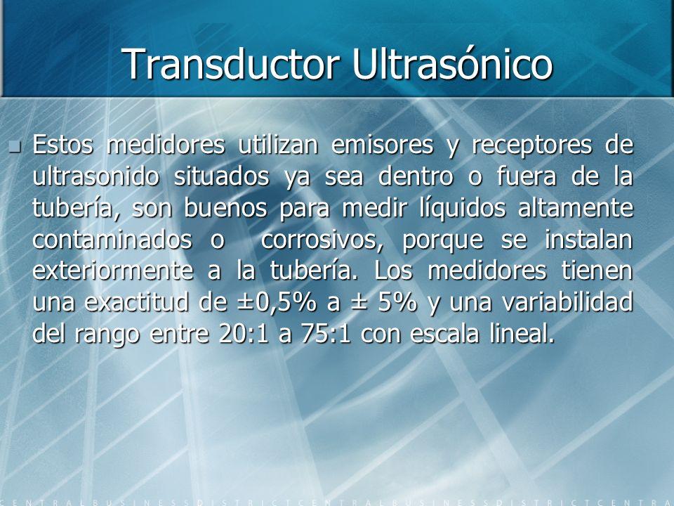 Transductor Ultrasónico Estos medidores utilizan emisores y receptores de ultrasonido situados ya sea dentro o fuera de la tubería, son buenos para me