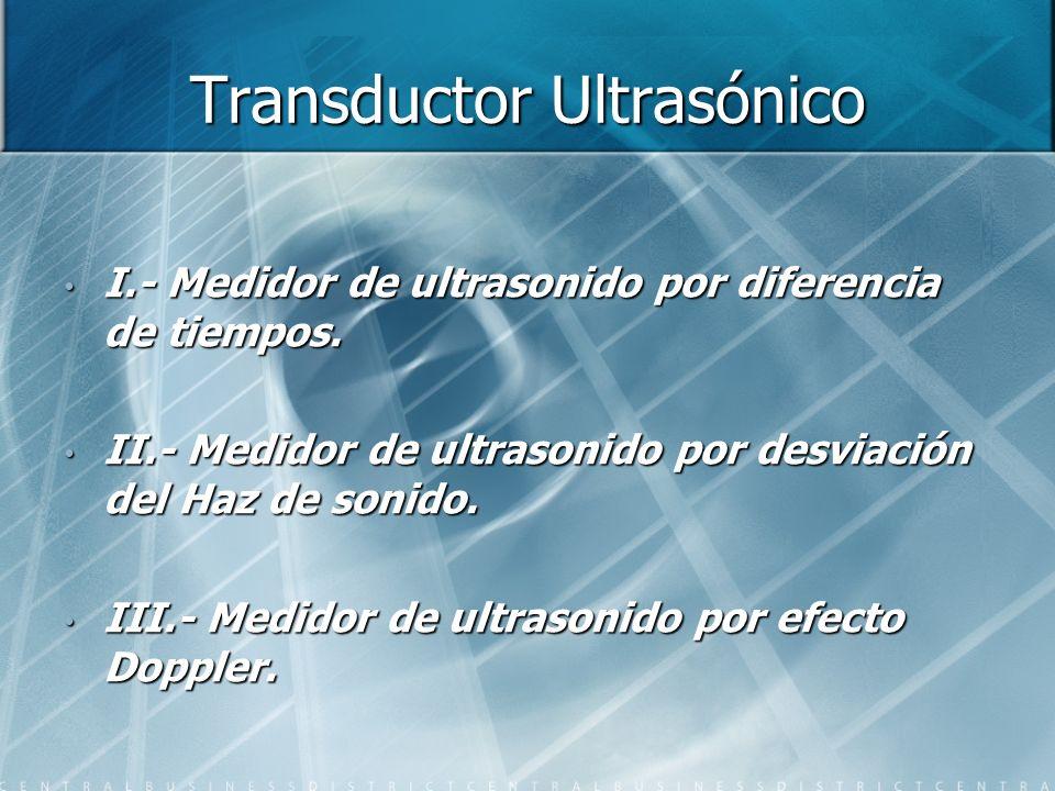 Transductor Ultrasónico I.- Medidor de ultrasonido por diferencia de tiempos. II.- Medidor de ultrasonido por desviación del Haz de sonido. III.- Medi
