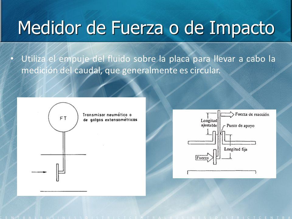 Medidor de Fuerza o de Impacto Utiliza el empuje del fluido sobre la placa para llevar a cabo la medición del caudal, que generalmente es circular.