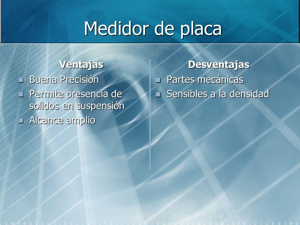 Medidor de placa Medidor de placa Ventajas Buena Precisión Permite presencia de solidos en suspensión Alcance amplio Desventajas Partes mecánicas Sens