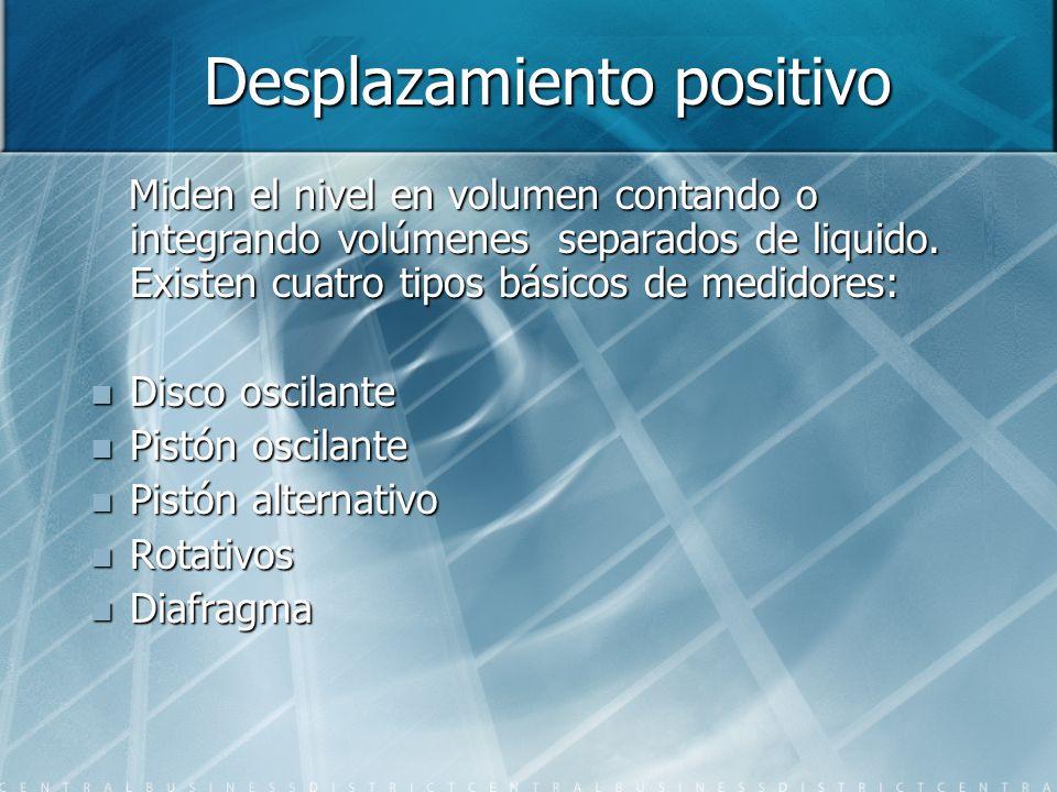 Desplazamiento positivo Desplazamiento positivo Miden el nivel en volumen contando o integrando volúmenes separados de liquido. Existen cuatro tipos b